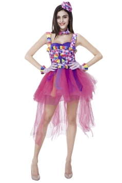 Womens Colorful Sexy Halloween Circus Costume Pink