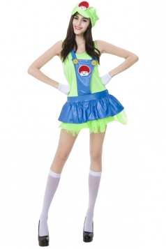 Womens Adult Cute Mario Halloween Costume Green