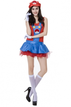Womens Adult Cute Mario Halloween Costume Red