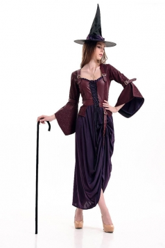 Womens Classic Square Neck Flare Sleeve Witch Costume Coffee