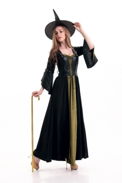 Womens Classic Square Neck Flare Sleeve Witch Costume Green