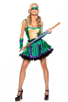 Womens Cosplay Ninja Turtle Halloween Costume Turquoise