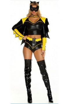Womens Fancy Batman Halloween Superhero Costume Yellow