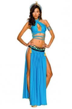 Womens Adult Halter Side Slit Cleopatra Costume Blue