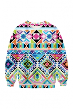 Womens Crew Neck Argyle Printed Pretty Pullover Sweatshirt Blue
