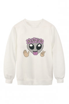 Womens Crew Neck Flower Emoji Printed Pretty Pullover Sweatshirt White