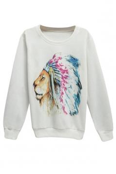 Womens Loose Lion Printed Pullover Sweatshirt White