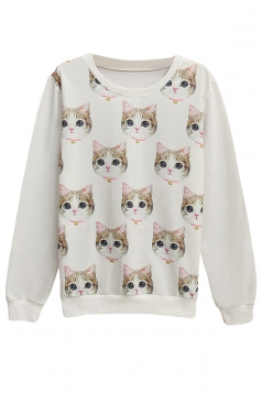 Womens Pullover Crew Neck Cute Cat Printed Sweatshirt White