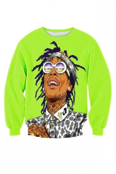 Womens Crewneck Wiz Khalifa Cartoon 3D Printed Sweatshirt Green