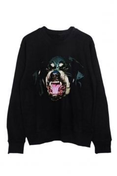 Womens Casual Crewneck Dog Printed Long Sleeve Sweatshirt Black