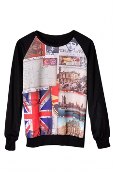 Womens Crewneck Postcard Printed Pullover Sweatshirt Black