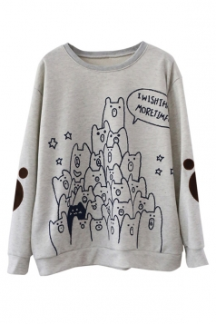 Womens Cute Crewneck Bears Printed Pullover Sweatshirt Gray