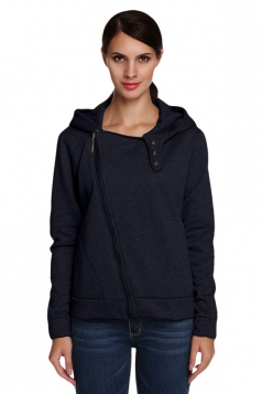 Womens Plain Long Sleeve Zippered Hooded Sweatshirt Navy Blue