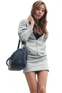 Womens Wings Printed Long Sleeve Hoodie Sweatshirt Dress Gray