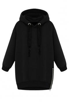 Womens Loose Plain Long Sleeve Pullover Hoodie Sweatshirt Black