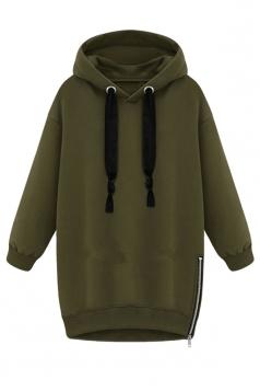 Womens Loose Plain Long Sleeve Pullover Hoodie Sweatshirt Green