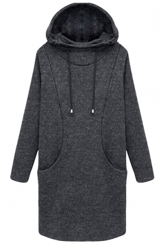 Womens Plus Size Plain Lined Hoodie Sweatshirt Gray