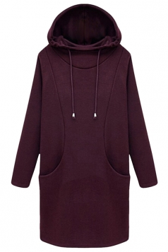 Womens Plus Size Plain Lined Hoodie Sweatshirt Ruby