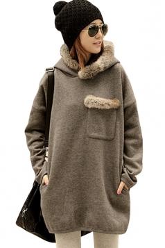 Womens Long Sleeve Pocket Lined Hoodie Sweatshirt Dark Gray