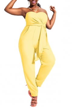 Womens Casual Strapless Frenulum Jumpsuit Yellow