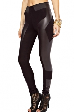 Womens Thickened Patchwork High Waist Tight Leggings Black