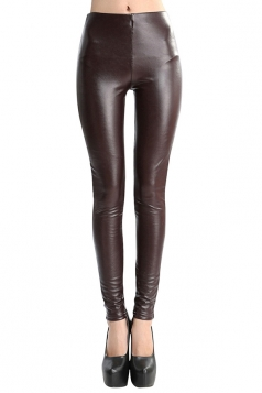 Womens Mid-waisted Lined Faux Leather Leggings Coffee