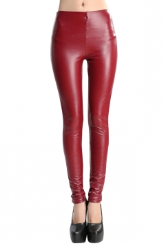 Womens Mid-waisted Lined Faux Leather Leggings Ruby