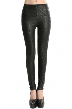 Womens Lace Patchwork Lined PU Leather Leggings Black