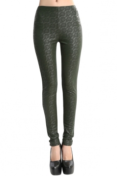 Womens Lace Patchwork Lined PU Leather Leggings Green