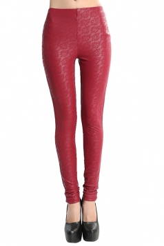 Womens Lace Patchwork Lined PU Leather Leggings Ruby