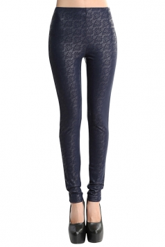 Womens Lace Patchwork Lined PU Leather Leggings Navy Blue