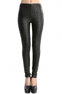 Womens Lace Lined PU Leather Leggings Black