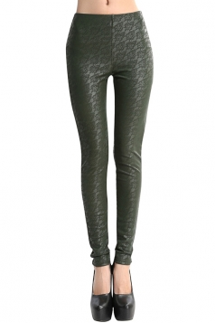 Womens Lace Lined PU Leather Leggings Green