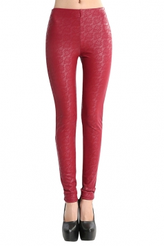 Womens Lace Lined PU Leather Leggings Ruby