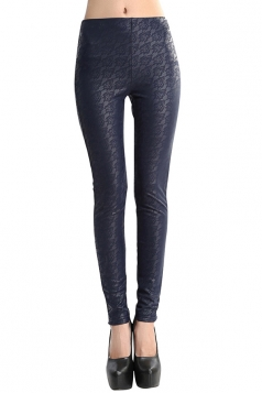 Womens Lace Lined PU Leather Leggings Navy Blue