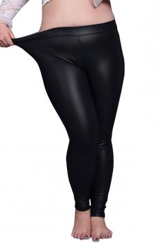 Womens Elastic  PU Leather Leggings Black