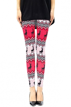 Womens Reindeer Printed Christmas Leggings Rose Red