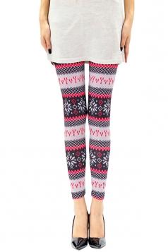 Womens Frozen Snowflake Printed Christmas Leggings Pink
