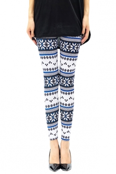 Womens Slimming Snowflake Printed Christmas Leggings Blue