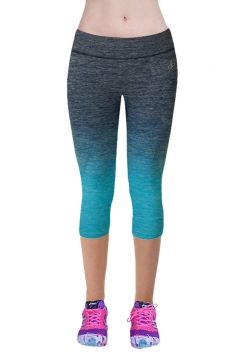 Womens Gradient Color Sports Leggings Blue