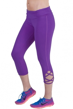 Womens Hollow Out Capri Sport Leggings Purple