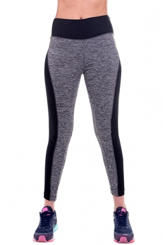 Womens High Waist Elastic Seamless Splicing Sport Leggings Gray