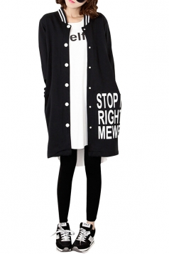 Womens Loose Cardigan Letters Printed Trench Coat Black