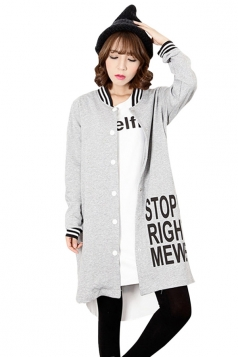 Womens Loose Cardigan Letters Printed Trench Coat Gray