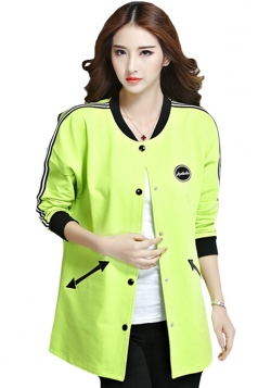 Womens Fashion Color Block Pockets Trench Coat Green
