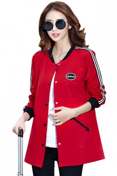 Womens Fashion Color Block Pockets Trench Coat Red