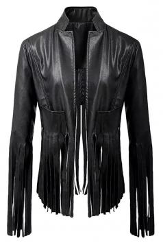 Womens Irregular Tassel Stand Collar Zipper PU Leather Jacket Black
