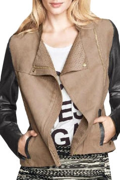 Womens Color Block Stand Collar Suede Slim PU Leather Jacket Khaki