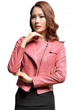 Womens Slim PU Leather Motorcycle Jacket Pink