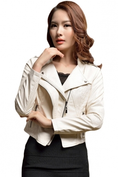 Womens Slim PU Leather Motorcycle Jacket White
